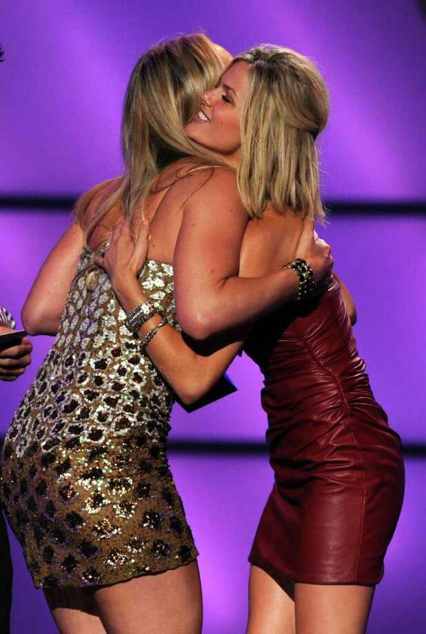 LOS ANGELES, CA - JULY 13: Olympic Skiier Lindsey Vonn (L) accepts the award for Best Female Athlete from Actress Brooklyn Decker attends The 2011 ESPY Awards at Nokia Theatre L.A. Live on July 13, 2011 in Los Angeles, California. Photo: Kevin Winter, Getty Images / 2011 Getty Images