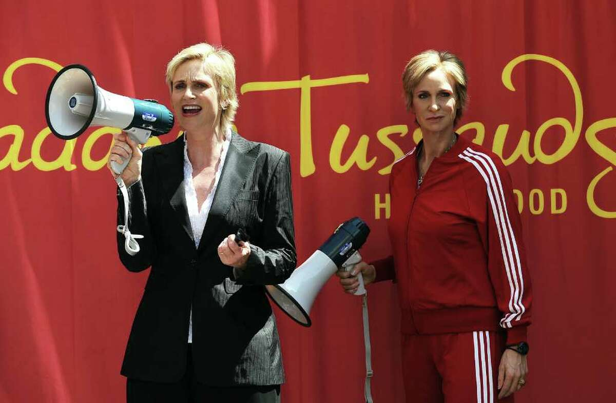 """Actress Jane Lynch attends the unveiling of her wax figure at Madame Tussauds Hollywood on August 4, 2010 in Hollywood, California. Jane Lynch is Sue Sylvester, star of the television serie """"Glee"""". AFP PHOTO / GABRIEL BOUYS"""