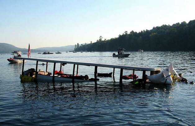 The Ethan Allen is raised and taken to shore on Lake George in 2005. (Warren County Sheriff's Office/Times Union archive)