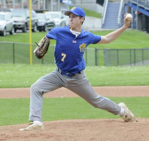 Austin Yusko, pitches for Brookfield High School, in a game against Southbury's, Pomperaug High School, at Brookfield, on Friday, May 13, 2011. Photo: Jay Weir