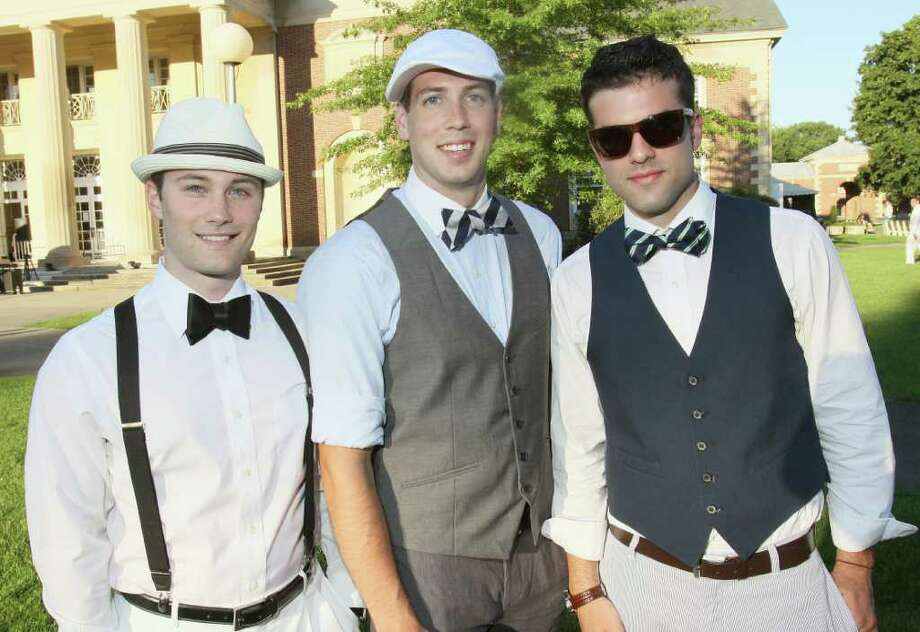 Saratoga Springs, NY - July 9, 2011 - (Photo by Joe Putrock/Special to the Times Union) - (l to r) Chris Lattaise, Andrew Parsons and Russ Sealy during the SPAC Gala Lawn Party: A Gatsby Evening, hosted by SPAC's Junior Committee. Photo: Joe Putrock / Joe Putrock