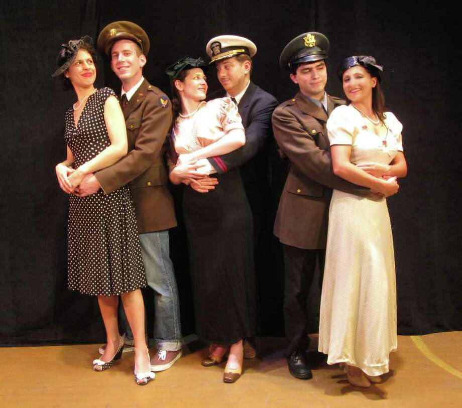 "Lisa Dahlstrom, Bill Adams, Amanda Goodman, Daniel Bayer, David Sylvia, and Lauren Nicole Sherwood appear as greatest generation young lovers in the Town Players of New Canaanís summer show, ""American Songbook, The Music of World War II,"" conceived and directed by Rich Mancini. Photo: Contributed Photo"