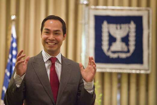*** SPECIAL FOR THE SAN ANTONIO EXPRESS-NEWS *** San Antonio, Texas mayor Julian Castro gestures during a meeting with Israel's President Shimon Peres ,not seen, at the President's residence in Jerusalem, Thursday, July 14. 2011. Photo: Dan Balilty, AP / AP