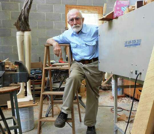 "Sculptor Phil Evett in his Blanco studio. ""He has to work,"" says his wife Joanne of the 88-year-old artist. ""To be away from his studio is agony for him."""
