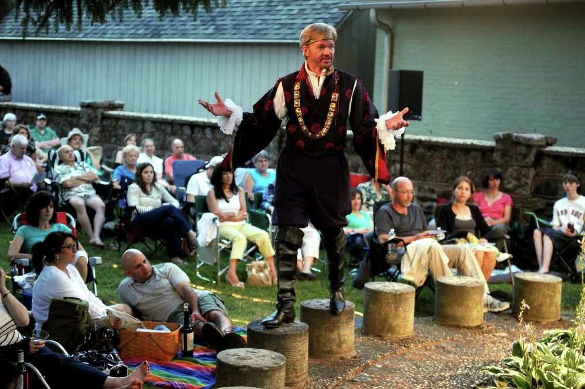 Peter Wood performs as Polixenes, King of Bohemia, during The Players at Putney Gardens' production of The Winter's Tale at Boothe Memorial Park in Stratford on Saturday, July 16, 2011.