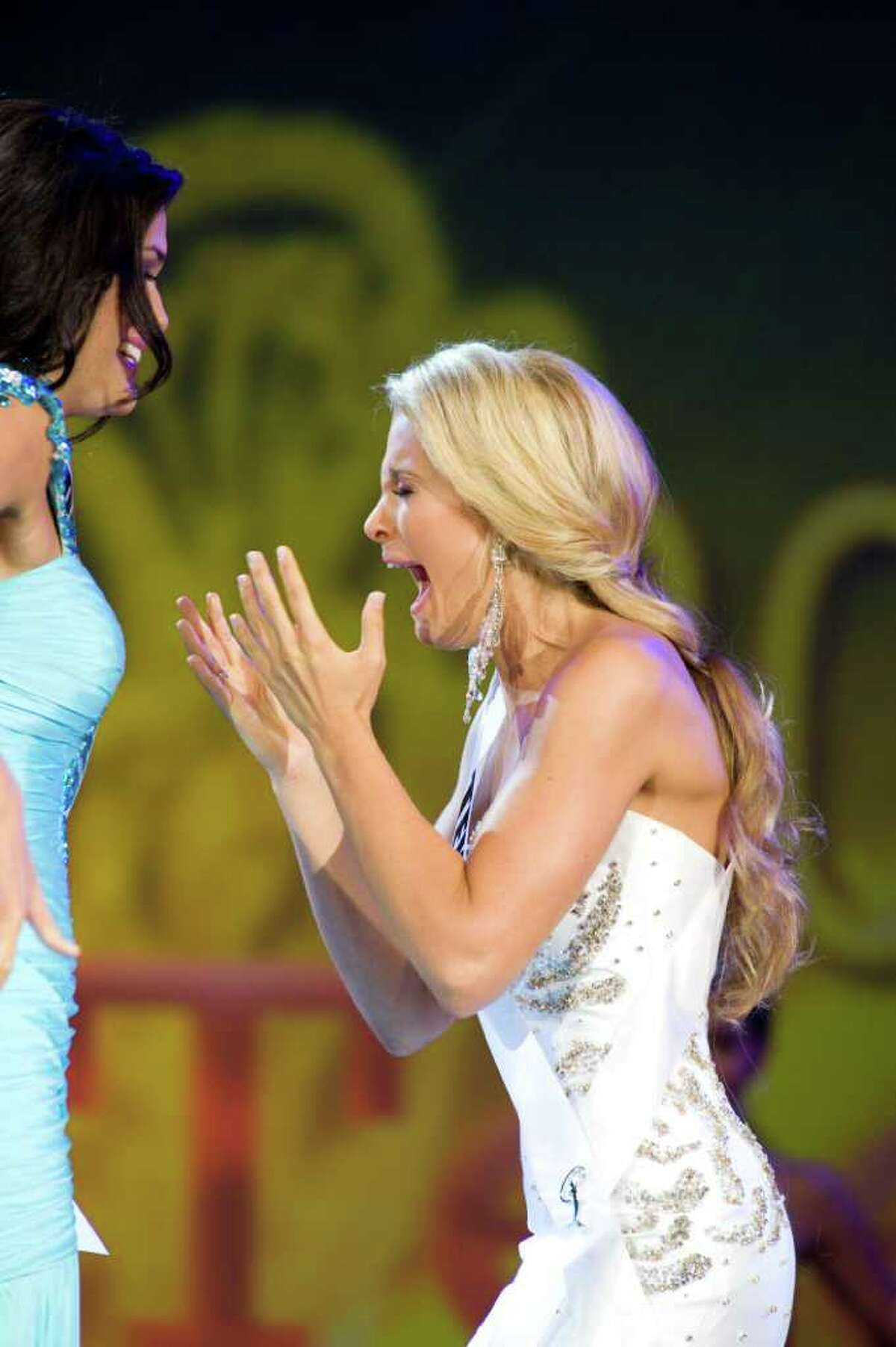 Miss Texas Teen USA 2011, Danielle Doty, reacts as she is named Miss Teen USA 2011 at Atlantis, Paradise Island and Resort in The Bahamas on Saturday, July 16, 2011.