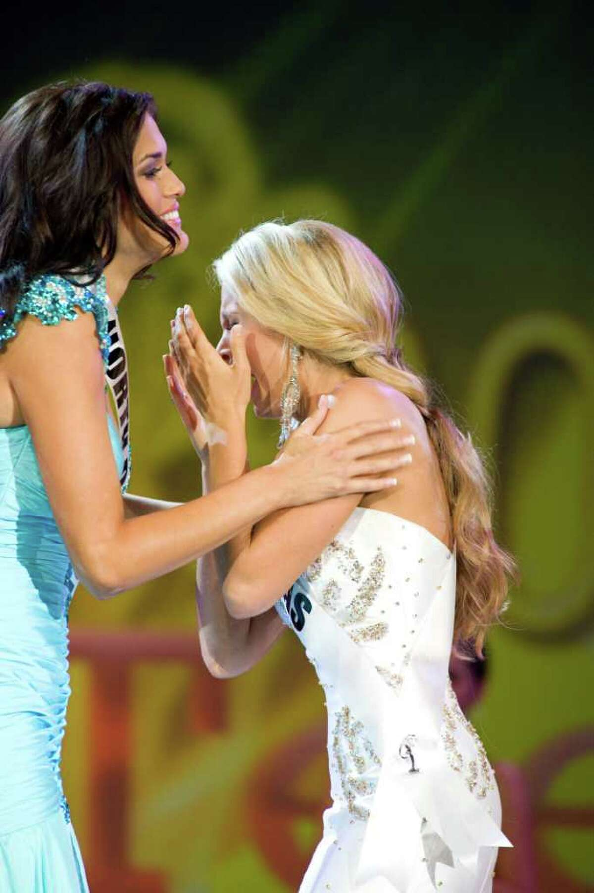 Miss Texas Teen USA 2011, Danielle Doty, reacts as she is named Miss Teen USA 2011. First runner-up Audra Mari, Miss North Dakota Teen USA 2011, is at left.