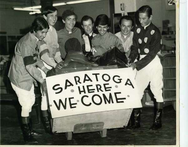 Back in the early early 1970s, racing was held at Aqueduct Race Track in the summer before the move was made to Saratoga. Here, a group of jockeys are shown hamming it up on Aug. 1, 1972. From left to right, they are, J. Guadalupe, Marco Castaneda, A. Gonzalez, Garth Patterson, J. Avellano, F. Leon and Braulio Baeza. (Courtesy New York Racing Association)