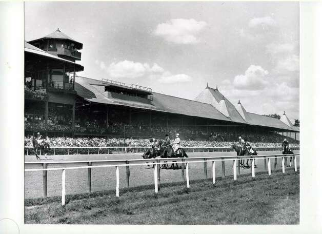 Saratoga Race Track (August 1942) Note that press box has no windows, compared to current day where there are lots of windows. (Provided)