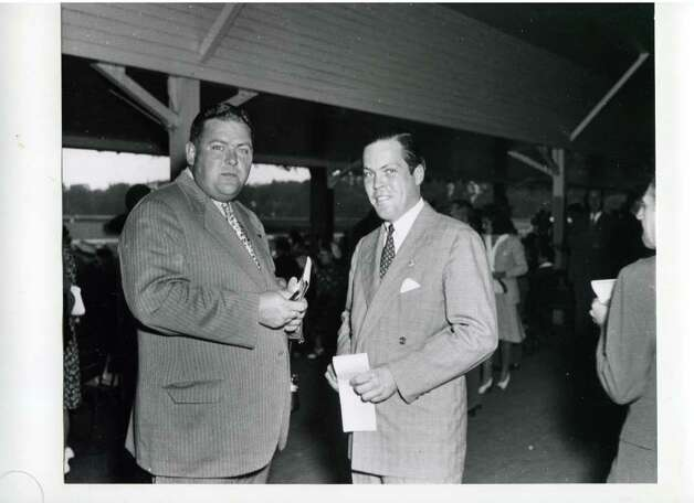 Two unidentified men are all dressed up and ready for a day at the races on Aug. 9, 1941. (Courtesy of Saratoga Springs Historical Museum, George S. Bolster collection)