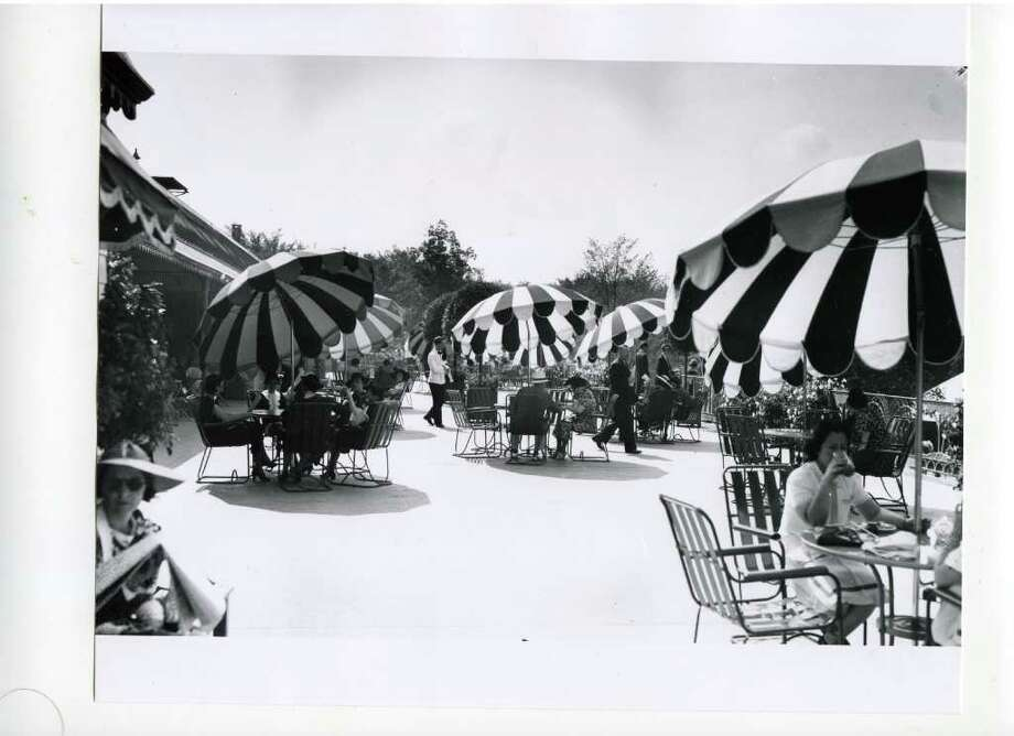 An outdoor terrace at the racetrack on a sunny Aug. 28 of 1937. (Courtesy of Saratoga Springs Historical Museum, George S. Bolster collection)
