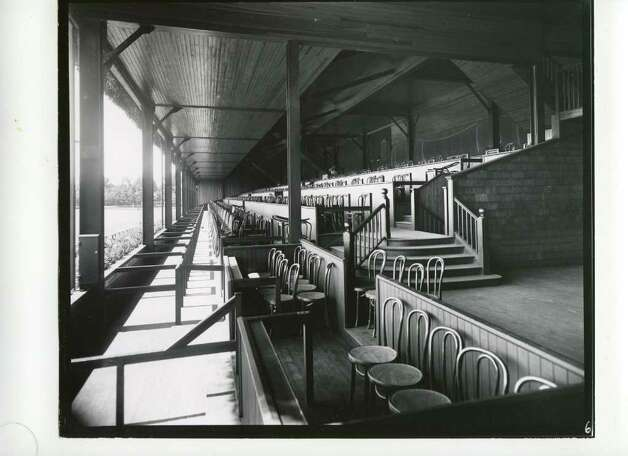 A look down the clubhouse's box seats, which start at the finish line. It appears as though the track was putting in a new row of boxes in 1935. (Courtesy of Saratoga Springs Historical Museum, George S. Bolster collection)