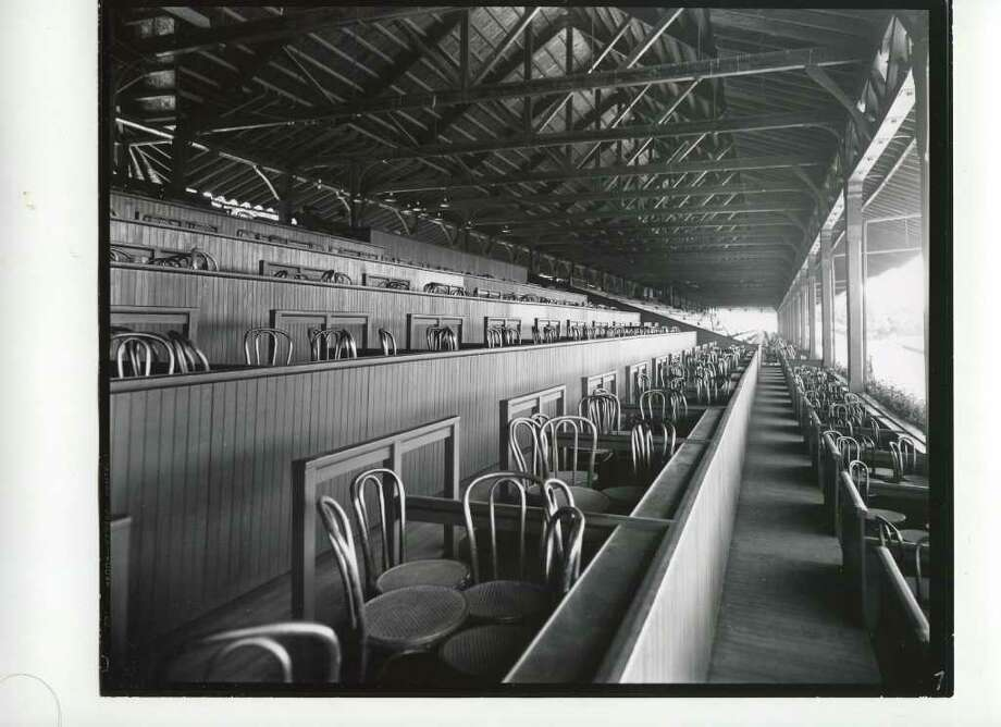 The clubhouse box seats are all set up and ready to go in 1935. All it needs now is some people. (Courtesy of Saratoga Springs Historical Museum, George S. Bolster collection)