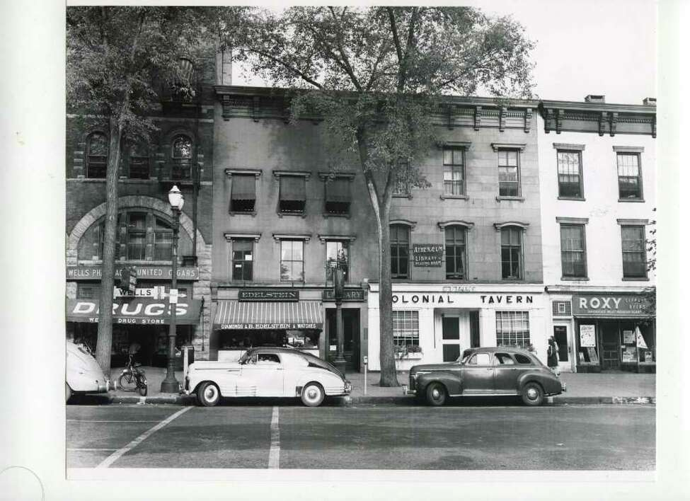 A shot of Broadway and the old Colonial Tavern on Aug. 25, 1946. (Courtesy of Saratoga Springs Historical Museum, George S. Bolster collection)