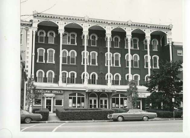 A shot of the Adelphi Hotel on Broadway, early 1970s. (Courtesy of Saratoga Springs Historical Museum, George S. Bolster collection)