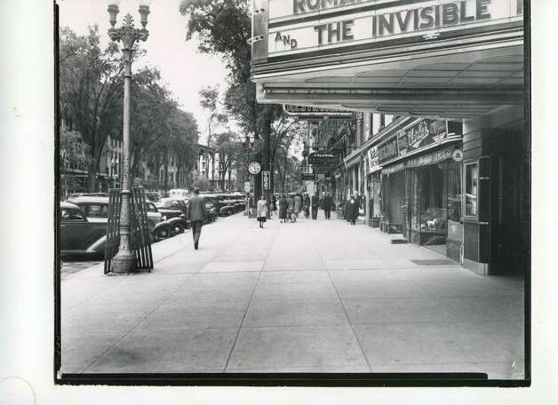 A look at Broadway from Spring Street in 1938. The marquee from the Congress Theater is visible. (Courtesy of Saratoga Springs Historical Museum, George S. Bolster collection)