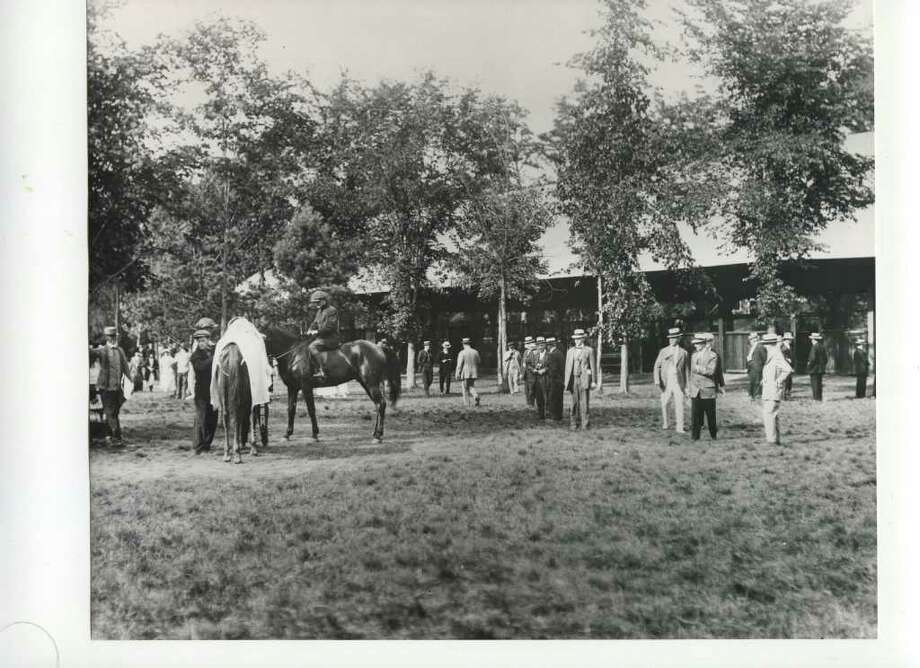 Here's the paddock at the Spa, date unknown, but it wasn't last summer. (Courtesy of Saratoga Springs Historical Museum, George S. Bolster collection)