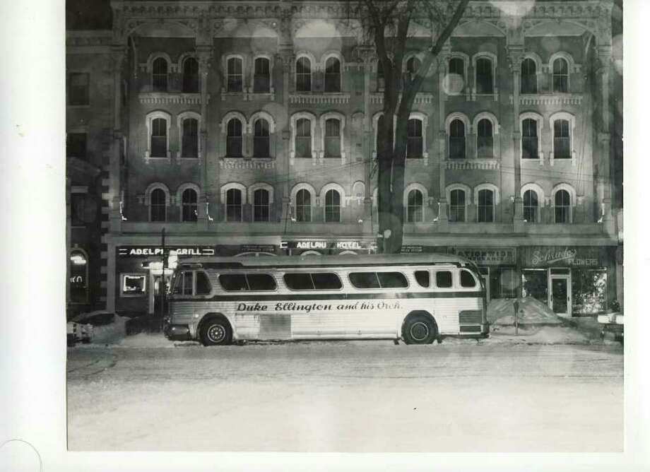 Duke Elllington and his orchestra made a trip through the Spa in the winter of a date unknown. The tour bus got to park right in front of the Adelphi Hotel. (Courtesy of Saratoga Springs Historical Museum, George S. Bolster collection)