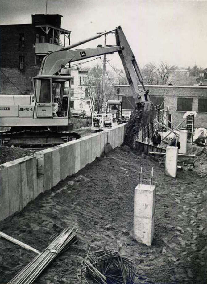 Construction is underway for a parking lot on Broadway in the Spa City on Nov. 27, 1979. You know it as the lot between Lillian's and Cantina. (Bob Richey/Times Union)