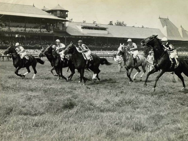 Here's the start of the third race -- a steeplechase event -- on Aug. 21, 1947. (Times Union Archives)