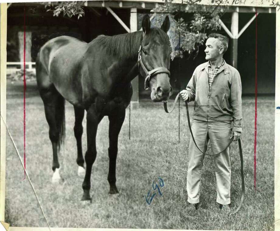 The great Kelso, who was Horse of the Year five straight years (1960-64) is shown grazing at Saratoga on July 31, 1962. (Times Union Archives)