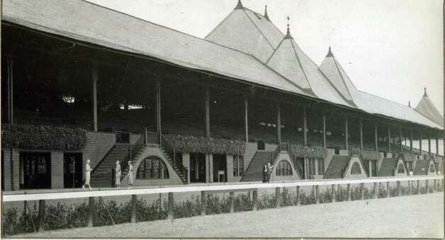 Here's a view of the cubhouse and grandstand at Saratoga in 1946. Obviously, they weren't racing on this day. (Times Union Archives)