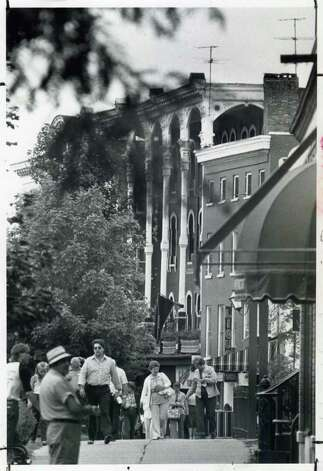 The streets are a little busy on the Spa's main drag on Aug. 3, 1982, the day before the races started that summer. (Times Union Archives)