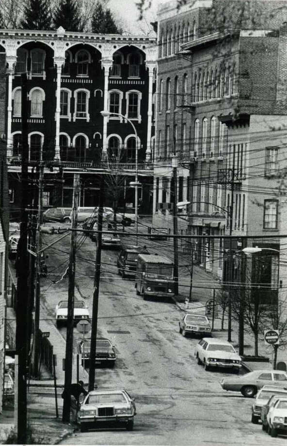 Looking down and up Phila Street towards Broadway. This shot was taken on Feb. 26, 1981. (Times Union Archives)