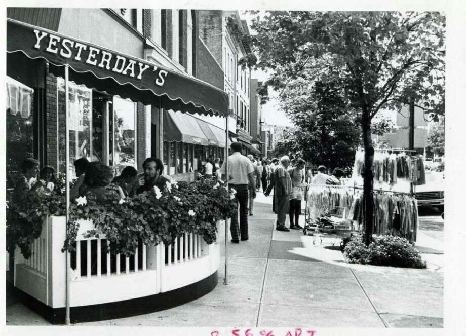 The crowd on Broadway on Aug. 18, 1981. Lunch at Yesterday's or sidewalk shopping seems to be a pretty good way to spend a sunny Spa afternoon. (Times Union Archives)