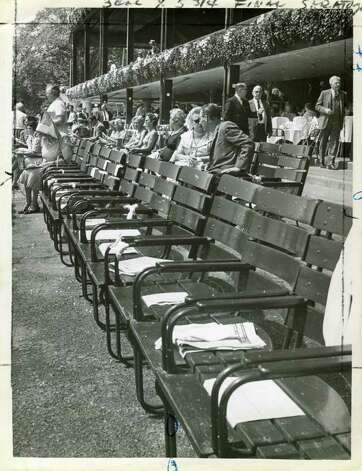 Here was a common practice. People used to leave programs or racing forms on their chairs to make sure no one else sat in them. This picture was taken on Aug. 16, 1962. (Times Union Archives)