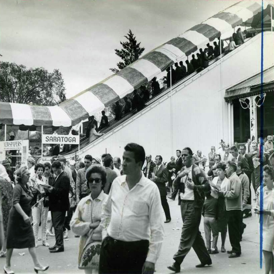 Fans are milling out outside the clubhouse and the escalator is in full service on Aug. 26, 1964. (Times Union Archives)