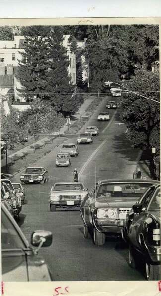 The traffic builds on Aug. 21, 1978 in Saratoga Springs. Not sure what street this is. (Ray Summers/