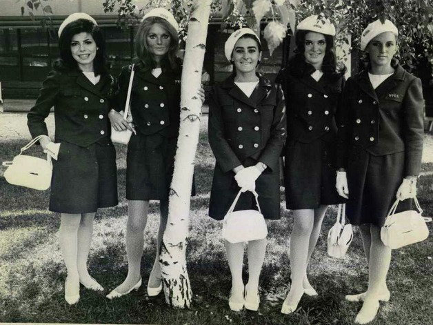 Back in 1968, these are what hostesses from the New York Racing Association were decked out in. Anyone know who these ladies are? (Times Union Archives)