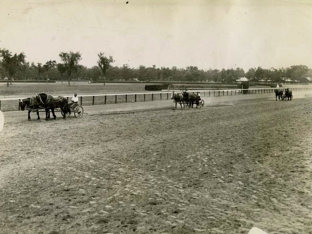 This is how they used to resurface the race track between races. This picture was taken on Aug. 2, 1934. There must have been a long time between each race, don't you think? (Times Union Archives)