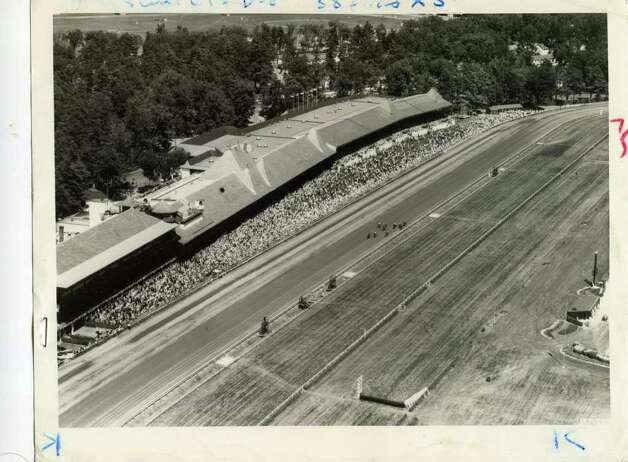 This is an aerial shot of Saratoga Race Course on Aug. 13, 1977.  (Times Union Archives)
