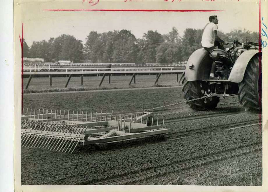Here's the way they resurfaced the track between races in 1964.  (Times Union Archives)