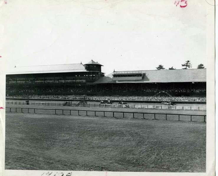 A look at the track from the infield on Aug. 17, 1946.  (Times Union Archives)