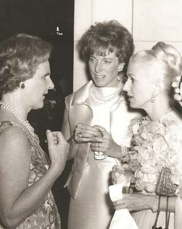 Marylou Whitney, right, visits with Kay Leach and Mrs. Ogden Phipps at Saratoga Performing Arts Center's opening night on July 8, 1966. SPAC is honoring Whitney's support of the venue and local arts with an engraved star. (Photo provided)