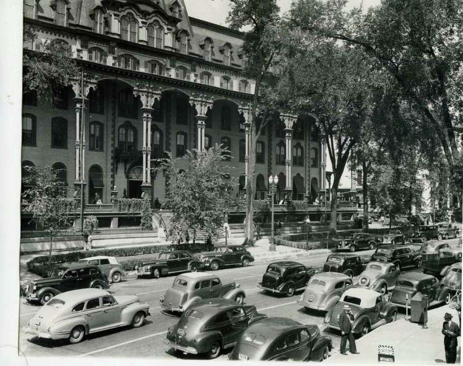 Traffic is heavy on Broadway in this undated photo, but, judging by the cars, it looks like it was the late 1940s. (Courtesy of Saratoga Springs Historical Museum, George S. Bolster collection)