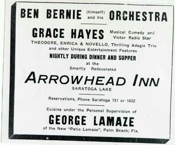 The Arrowhead Inn on Saratoga Lake was promoting Ben Bernie (himself) and his orchestra and other entertainment in this flyer, that was not dated. (Courtesy of Saratoga Springs Historical Museum, George S. Bolster collection)
