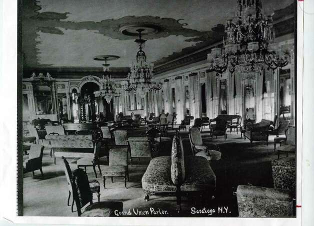 The inside of the Grand Union Hotel, circa 1895. This was called the hotel parlor. (Courtesy of Saratoga Springs Historical Museum, George S. Bolster collection)