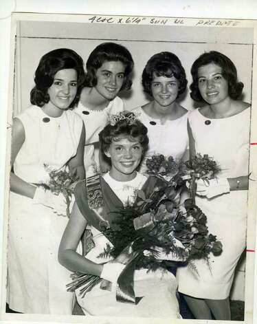 Patricia Vokes sits in front of her court as she is named Miss Saratoga Centennial as part of the Saratoga Thoroughbred Racing Centennial celebration. The date is July 28, 1963. Pictured behind Vokes, from left to right, are Rose Mary Martino, Barbara Fitzpatrick, Candy Nelson and Gail Greinert. (Times Union Archives)
