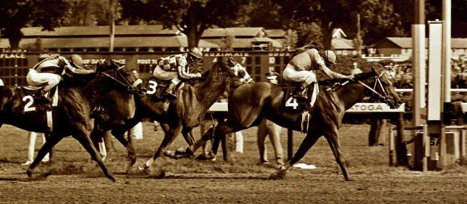 Times Union staff photo by Skip Dickstein -- #4 Onion outduels #3 Secretariat to the wire in the 1973 Whitney at the Saratoga Race Course in Saratoga Springs, New York August of 1973. Photo: SKIP DICKSTEIN / ALBANY TIMES UNION