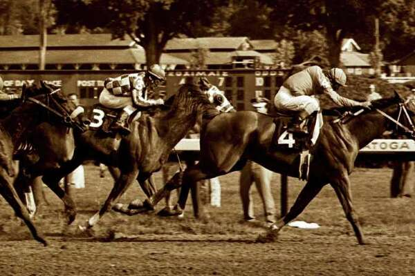 Times Union staff photo by Skip Dickstein -- #4 Onion outduels #3 Secretariat to the wire in the 1973 Whitney at the Saratoga Race Course in Saratoga Springs, New York August of 1973.