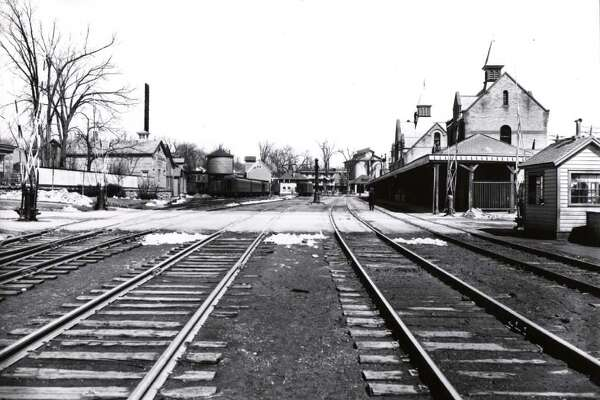 Photo courtesy of George S. Bolster Collection/Historical Society of Saratoga Springs -- D&H Train Station from Division St. in Saratoga Springs, NY in 1937.