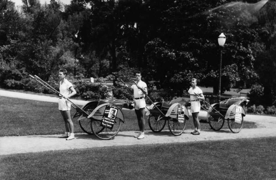 **MANDATORY CREDIT**  Photo Courtesy of the George S. Bolster Collection of the Historical Society of Saratoga Springs --  Photographer, H.B. Settle -- An August 1935 photo For a couple of years, people could take Rickshaw rides around town. Photo: UNKNOWN / GEORGE S. BOLSTER COLLECTION