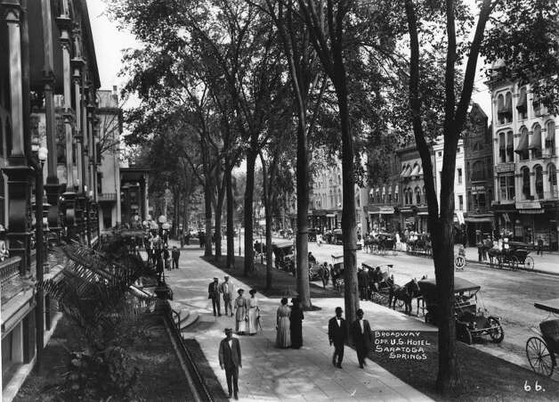 Photo Courtesy of the George S. Bolster Collection of the Historical Society of Saratoga Springs -- Photographer,  J.S. Wolley -- Looking North up Broadway with the United States Hotel on the left in this 1907 photo. Photo: UNKNOWN / GEORGE S. BOLSTER COLLECTION