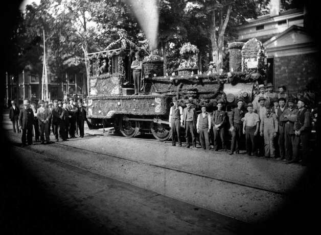 Photo Courtesy of the George S. Bolster Collection of the Historical Society of Saratoga Springs --  An authentic D&H Steam Engine dressed for a Floral Fete on Franklin Square in this circa 1900 photo. Photographer Unknown. Photo: UNKNOWN / GEORGE S. BOLSTER COLLECTION