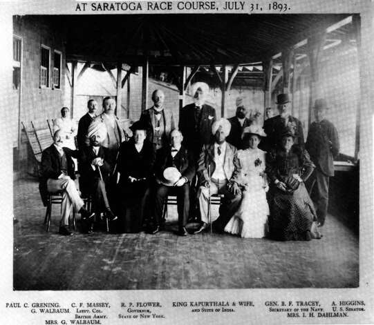 King Kapurthala of India, seated next to his wife, in white, and Gov. Flower, to the left, visited the Saratoga Race Course on July 31, 1893. From the George S. Bolster Collection of the Historical Society of Saratoga Springs.