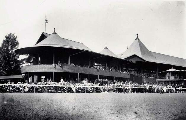 Courtesy Saratoga Springs History Museum -- Saratoga Race Course grandstand and clubhouse, circa 1919